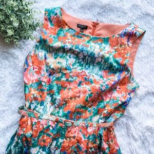 Talbots | Paintbrush Peach Floral Dress with Belt